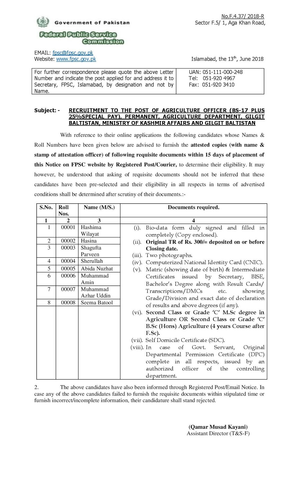 FPSC Notice for Submission of Documents RECRUITMENT TO THE
