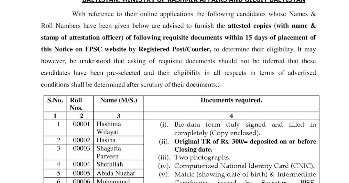 Fpsc Bio Data Form 2018
