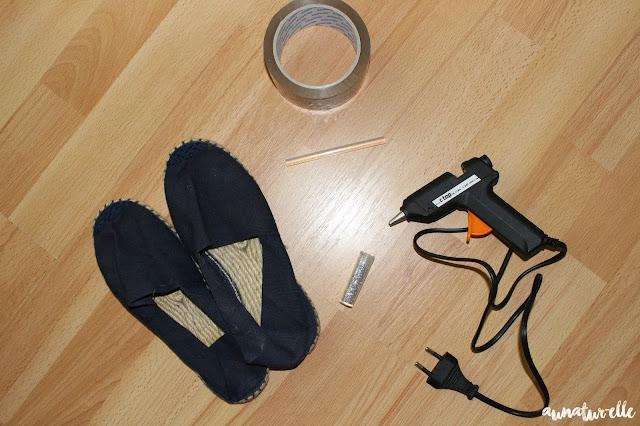 customiser espadrille avec des paillettes
