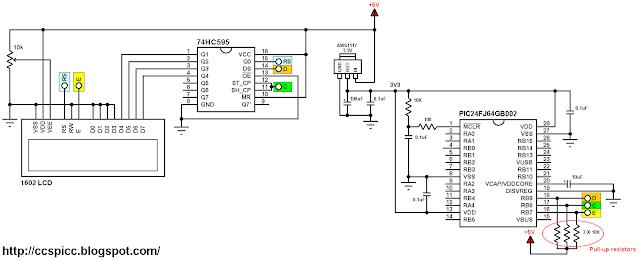 PIC24FJ64GB002 microcontroller with 16x2 LCD circuit diagram