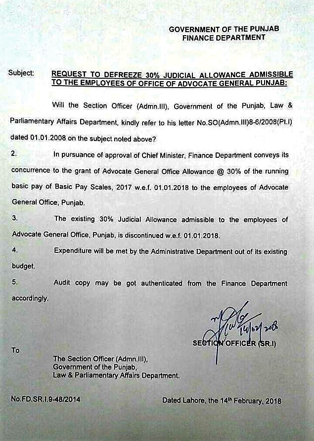 DEFREEZING OF 30% JUDICIAL ALLOWANCE ADMISSIBLE TO THE EMPLOYEES OF OFFICE OF ADVOCATE GENERAL PUNJAB