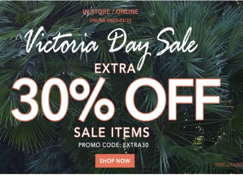 Forever 21 Victoria Day Sale Extra 30% Off Promo Code