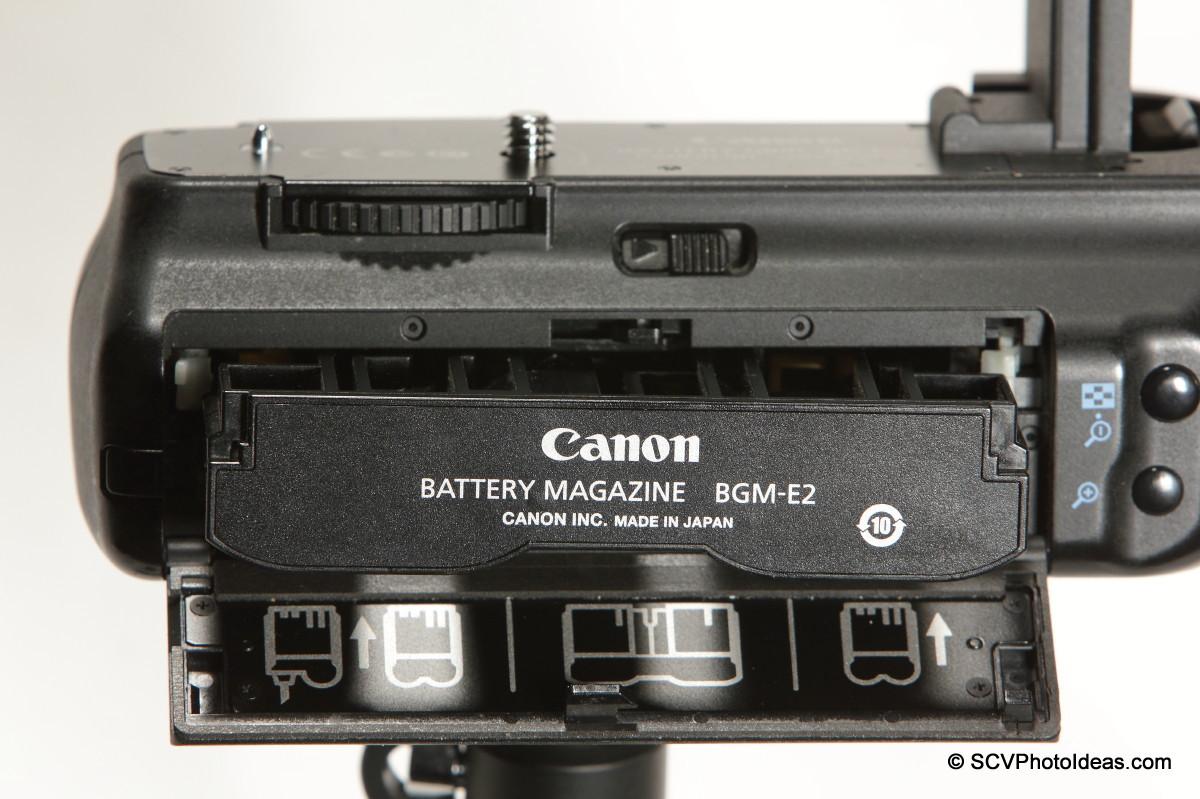 Canon BG-E2N Battery Grip -BGM-E2 Battery Magazine installation