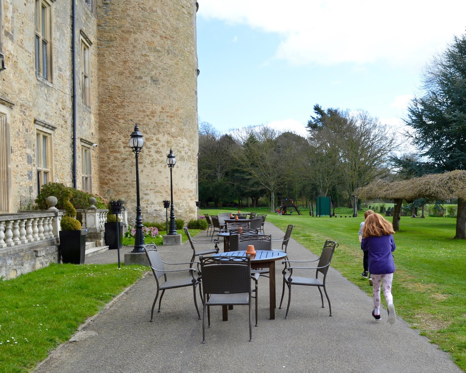 Sunday Lunch, Playgrounds & Birds of Prey at Walworth Castle, Darlington  = outdoor terrace overlooking park