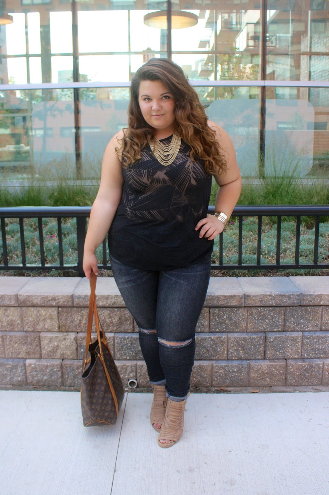 demi lovato, cool for the summer, Teen Vogue x parsons, teen vogue, fashion industry essentials, natalie craig, natalie in the city, plus size fashion, denim with holes, chicago, summer fashion, target denim, mossimo denim, sheer blouse, burnout tank top, louis vuitton tote, gold jewelry, denim with holes in the knees, curly ombre hair, ootsd, plus size fashion blogger, fashion blogger