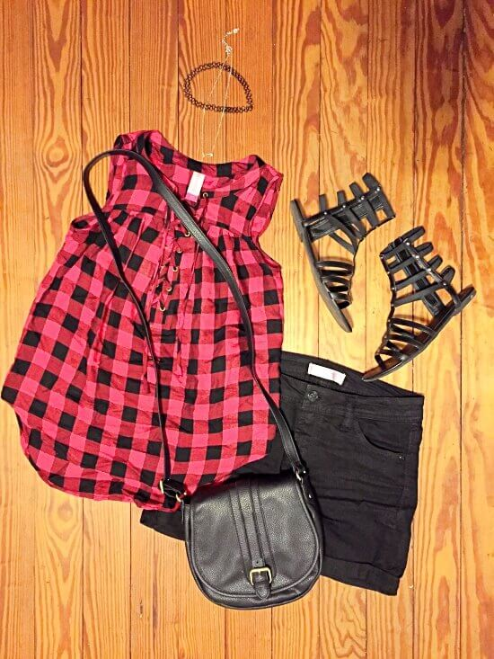 red plaid lace up tank top outfit of the day
