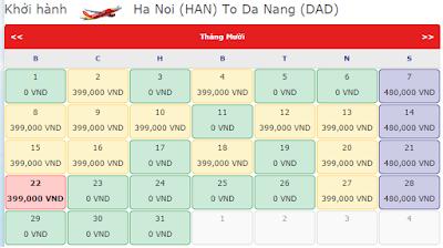 Vé khuyến mãi 0 đồng của Vietjet Air tháng 9, 10, 11  từ hà nội đến đà nẵng