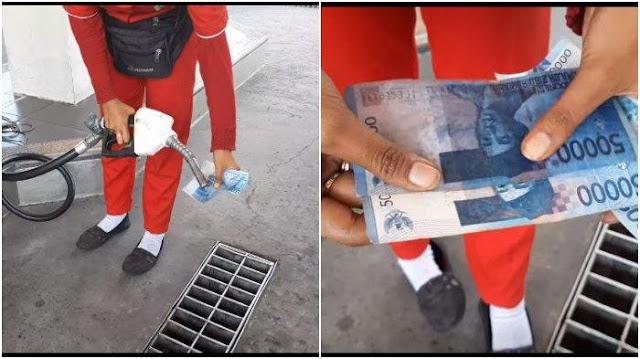 Viral Uang Palsu Beredar di Kediri, Terungkap saat Petugas POM Sengaja Siramkan Bensin