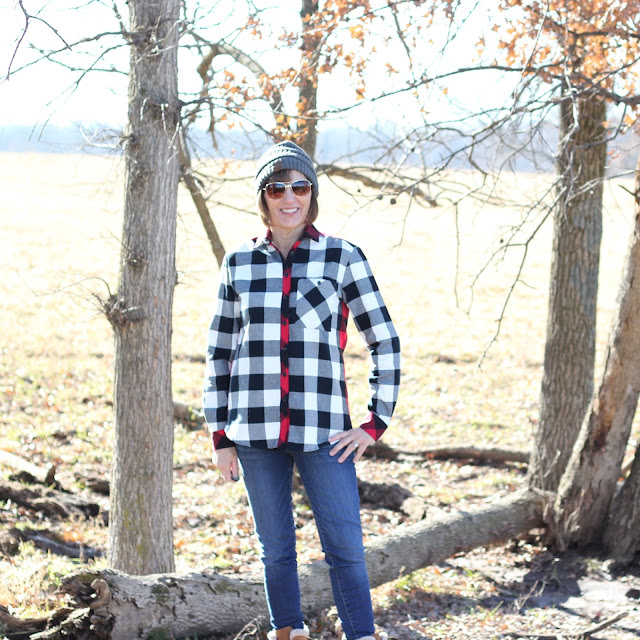 Grainline Archer Shirt from Mood Fabrics' Buffalo Check Flannel
