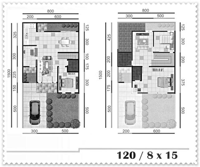 denah rumah minimalis 1 lantai ukuran 8x15