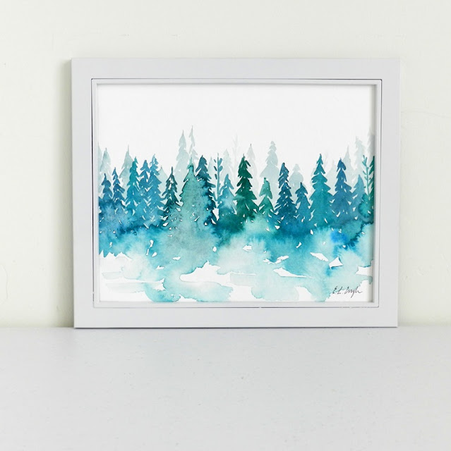 original watercolor wintry forest painting