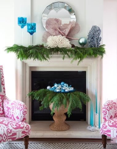 Blue Christmas Balls on Mantel