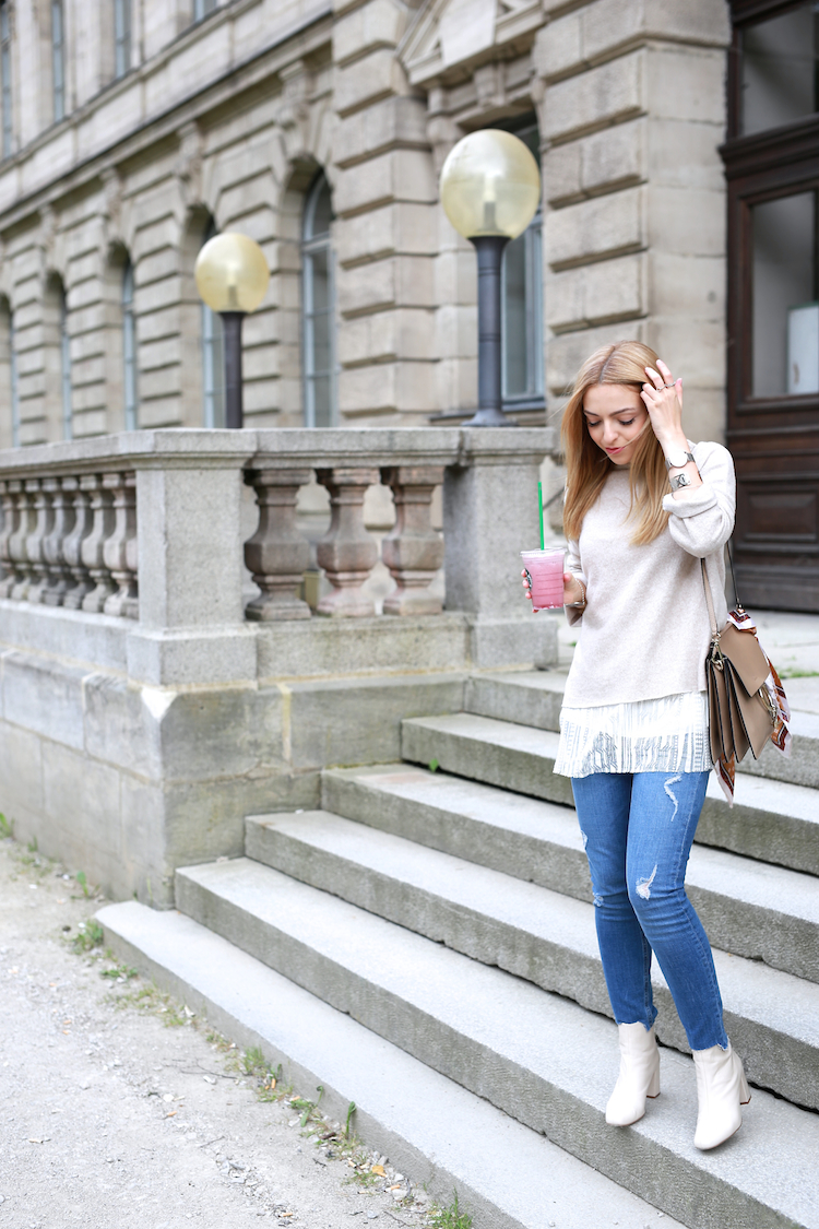 Want Get Repeat Blog Zara White Boots Layering Outfit