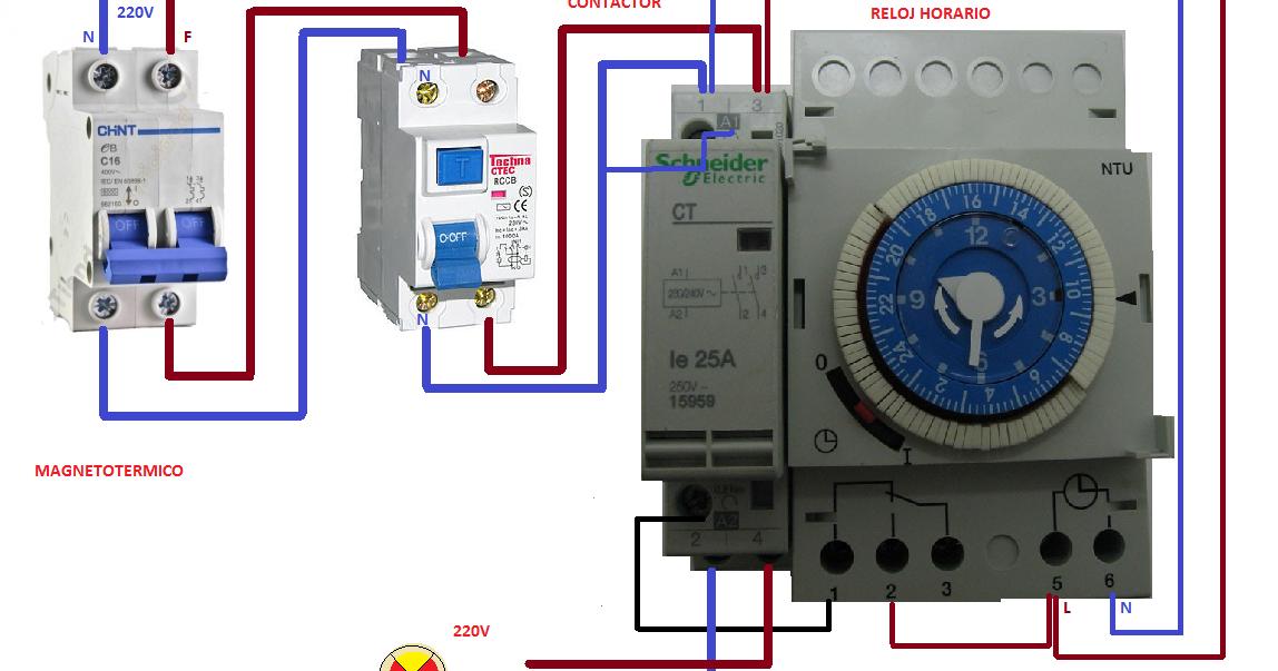 Esquemas Eléctricos Conexion Reloj Horario Contactor