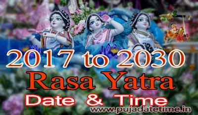 2017 - 2030 Rasa Yatra Puja Date & Time, India
