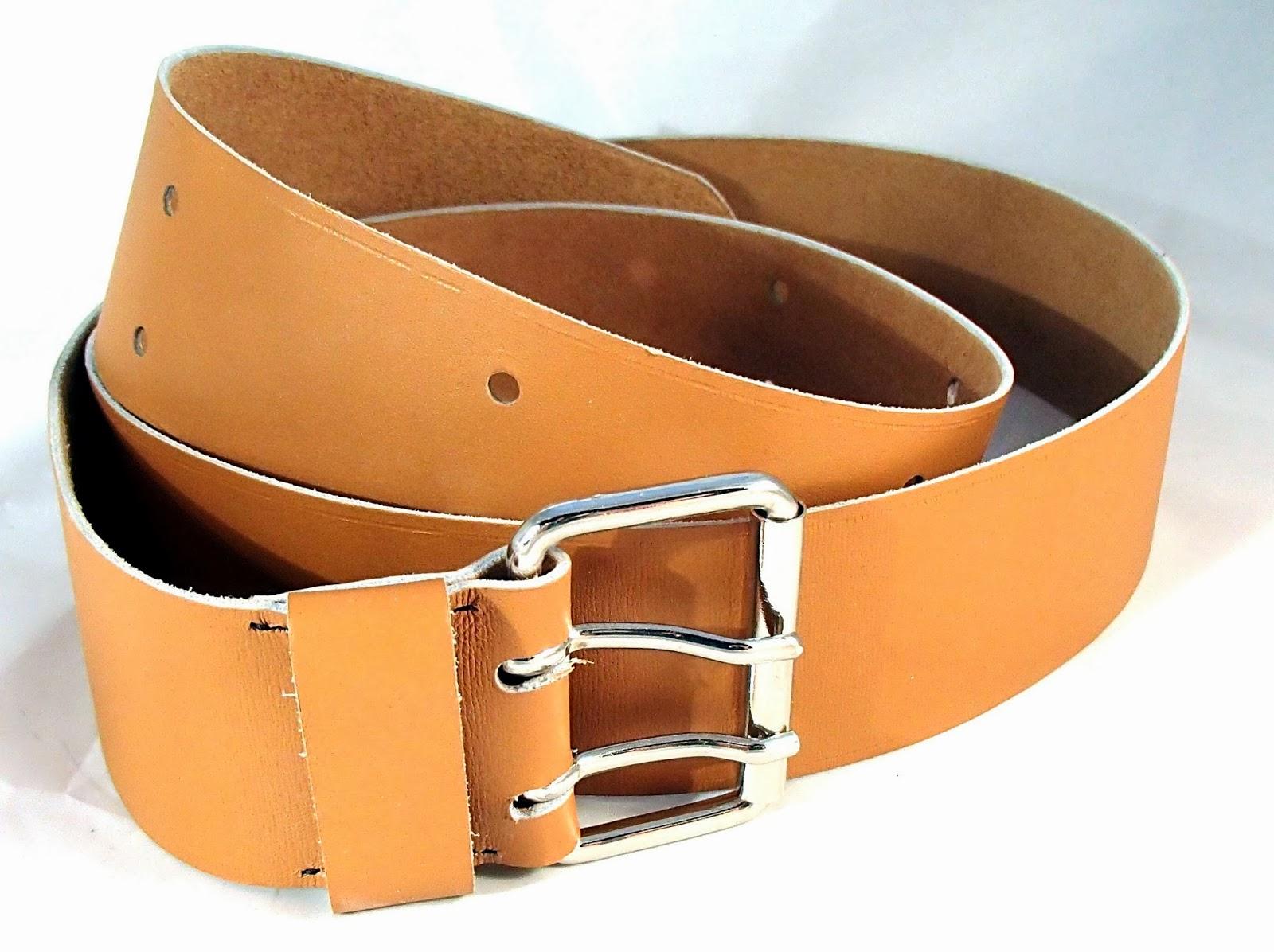 Vue générale de la ceinture caramel avec 2 ardillons pour homme / femme