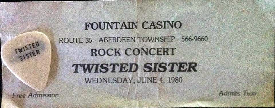 Fountain Casino pass for Twisted Sister 1980