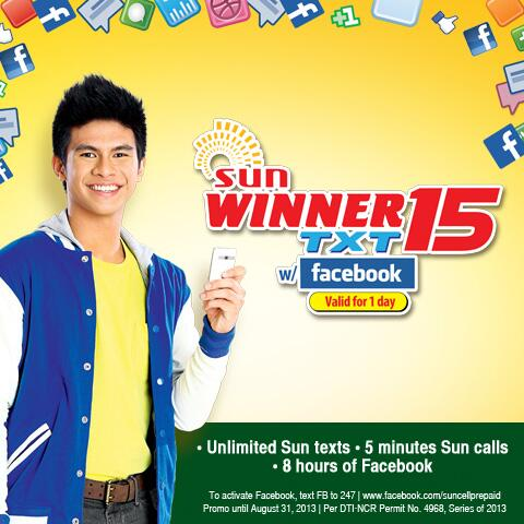 Sun WINNER Text 15 promo gives you unlimited texts with calls and free Facebook