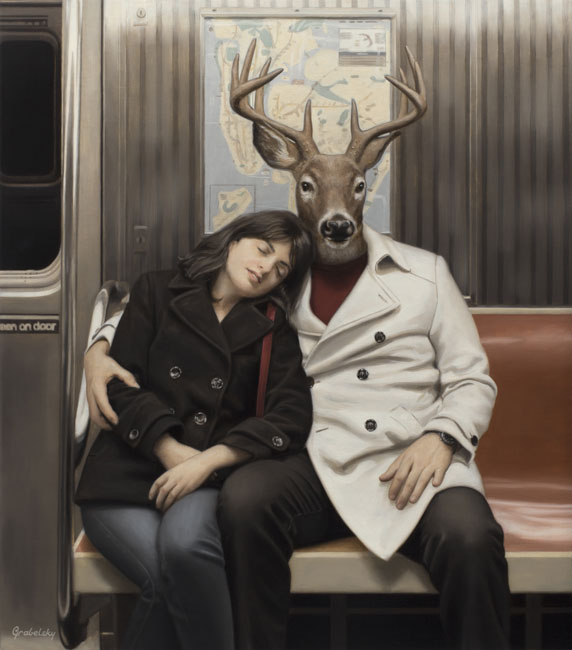 12-Mandy-and-Mr-Buck-Matthew-Grabelsky-Paintings-of-Animal-Human-Hybrids-on-the-Subway-www-designstack-co