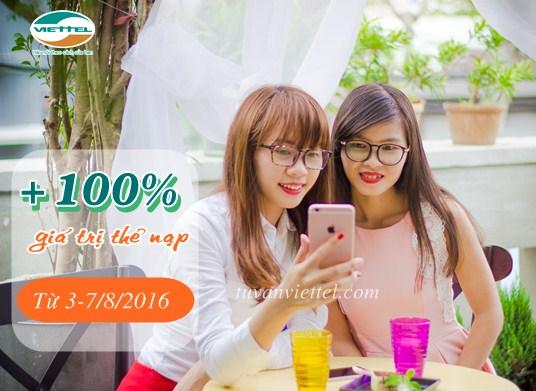 Viettel khuyến mãi 100% giá trị thẻ nạp từ ngày 3-7/8/2016