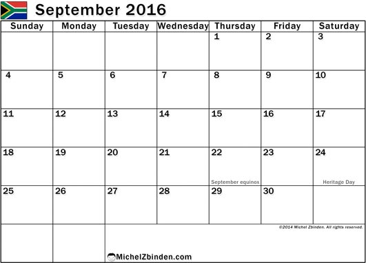 September 2016 Calendar with Holidays, September 2016 Calendar with Holidays SA, September 2016 Holiday Calendar South Africa, 2016 SA Holiday Calendar