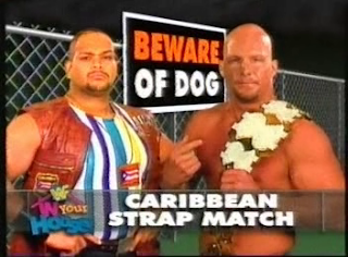WWF / WWE - IN YOUR HOUSE 8 - BEWARE OF DOG - Stone Cold Steve Austin lost to Savio Vega in an awesome strap match