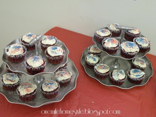 Red velvet cupcakes with red and blue sprinkles