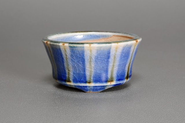 下絵付透明釉丸盆栽鉢(Glaze with design bonsai pot)h1539