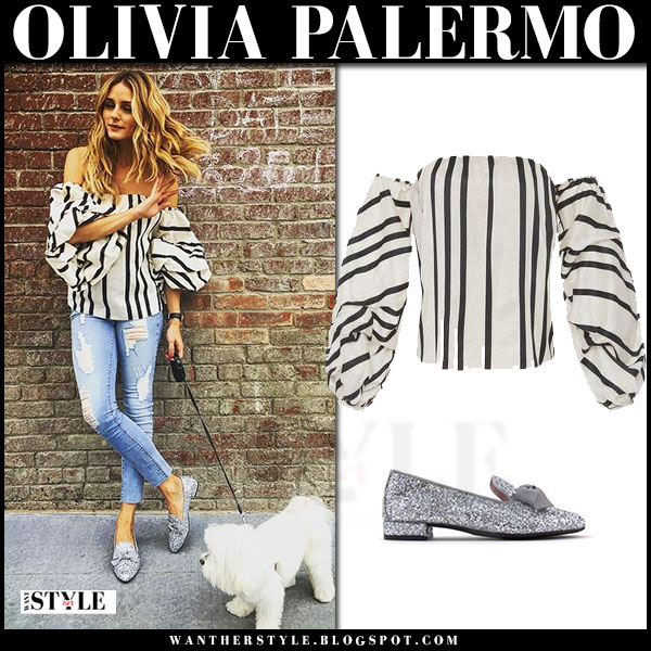 Olivia Palermo in striped off shoulder top johanna ortiz frida and silver glitter loafers lolitablu what she wore