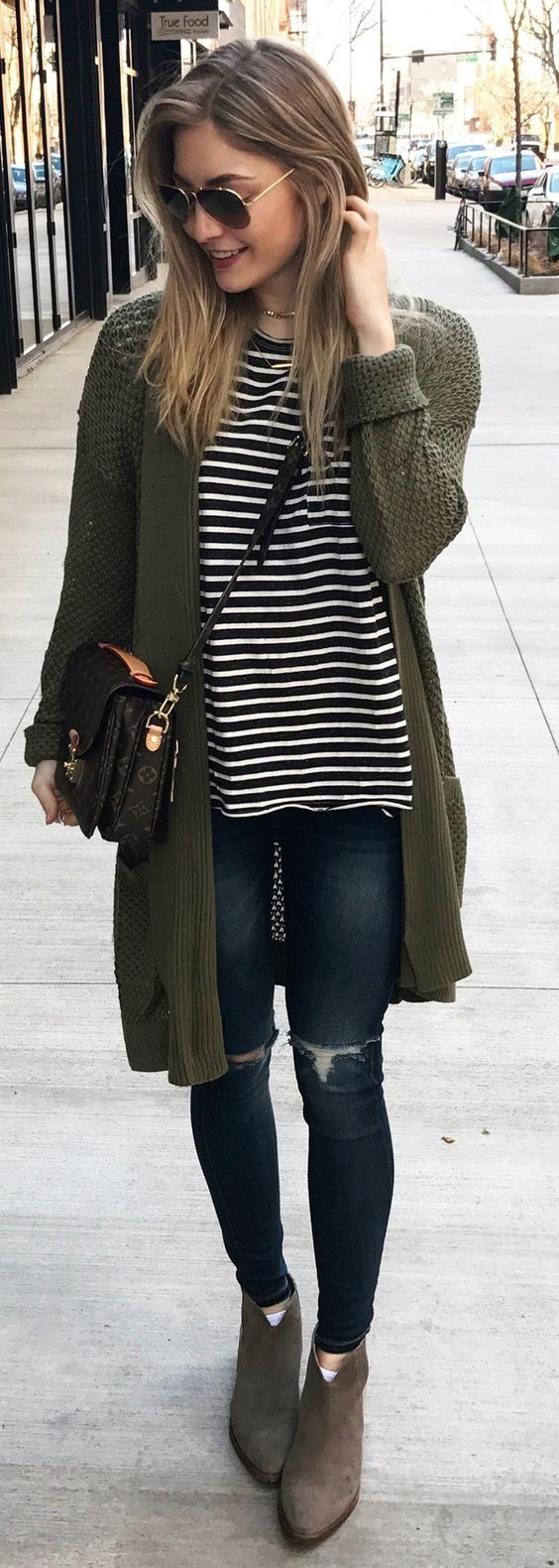 casual style addict: stripped top + bag + cardigan + rips + boots