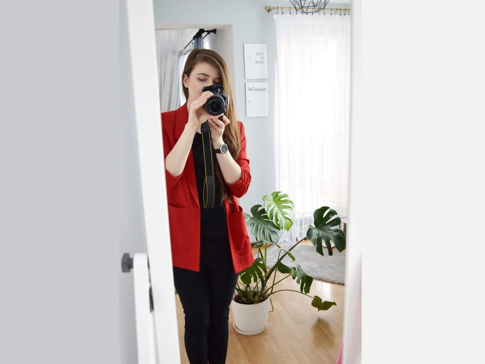 czerwona marynarka orsay blog delishe
