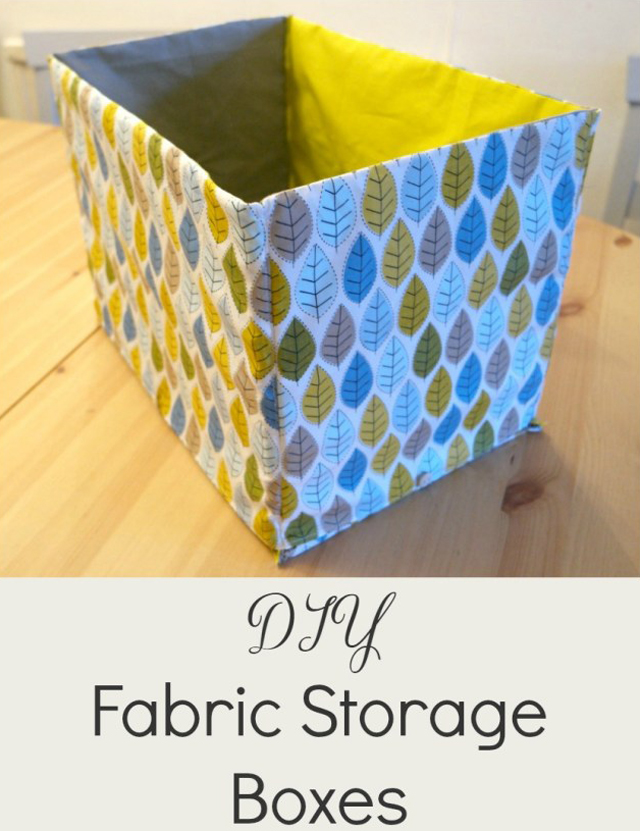 Learn how to make a storage boxes from fabric and cardboard. Tutorial by Tea and a Sewing Machine.