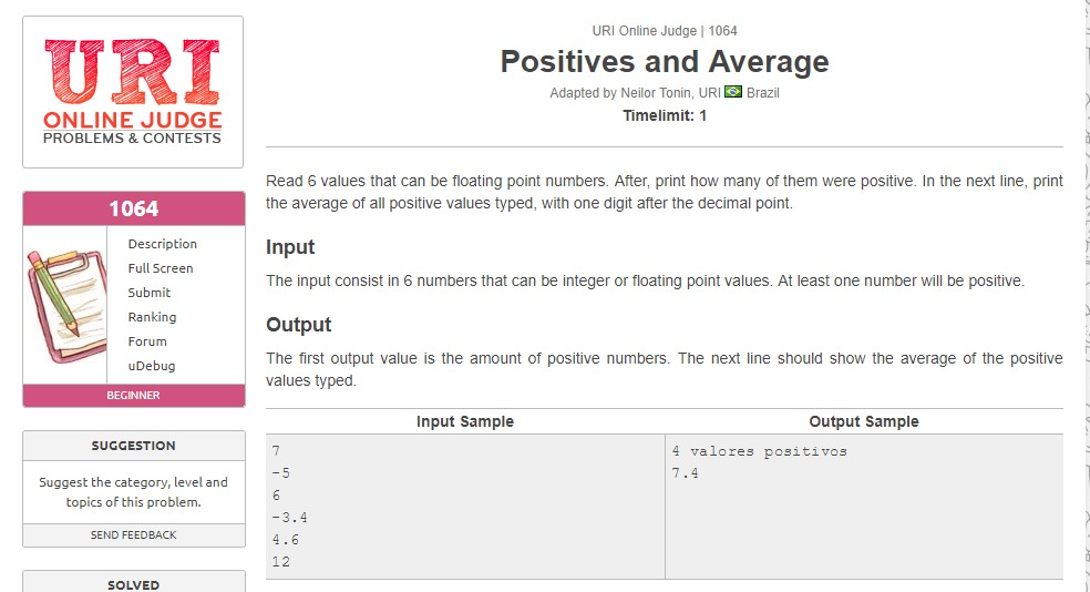 URI Online Judge Solution 1064 Positives and Average - Solution in C, C++, Java, Python and C#