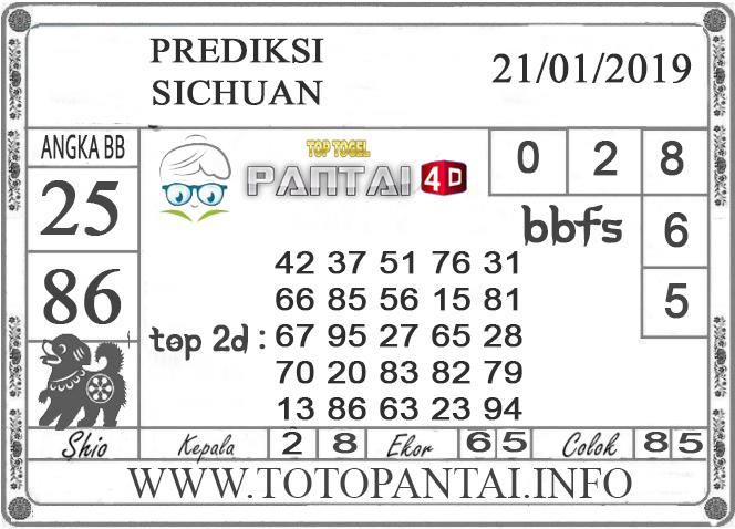 """Prediksi Togel """"SICHUAN"""" PANTAI4D 21 JANUARI 2019"""