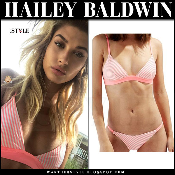 Hailey Baldwin in pink striped bikini solid and striped the morgan what she wore
