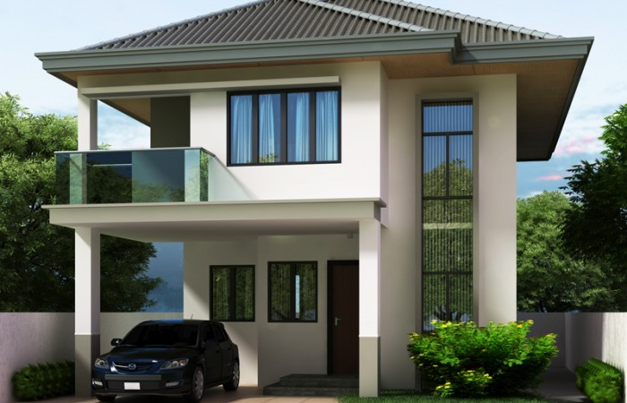 pinoy houseplans 2014005 perspective 700x450 - 40+ Low Cost Small Two Storey House Plans With Balcony Background