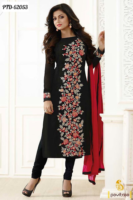 Indian Tv serial actress Madhubala Drashti Dhami style black color chiffon designer churidar salwar kameez