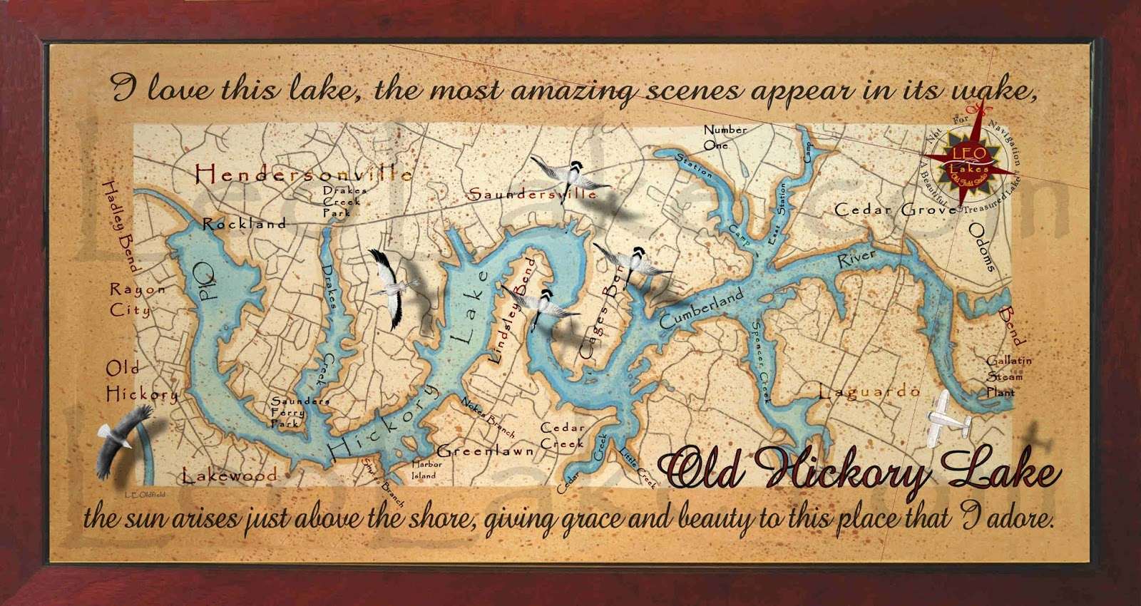 Old Hickory Lake Topographic Map.Old Field Studio Painting Of Old Hickory Lake Old Style
