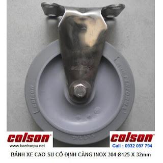 Bánh xe đẩy cao su đặc càng inox 304 Colson không để vết | 2-5408-444 www.banhxepu.net