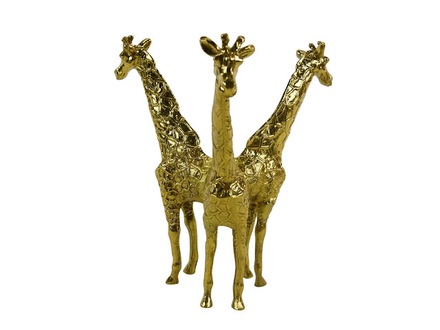 hollywood regency, Italian 3-Headed Brass Giraffe, vintage