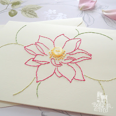 Pink, green and yellow handmade stitched flower card