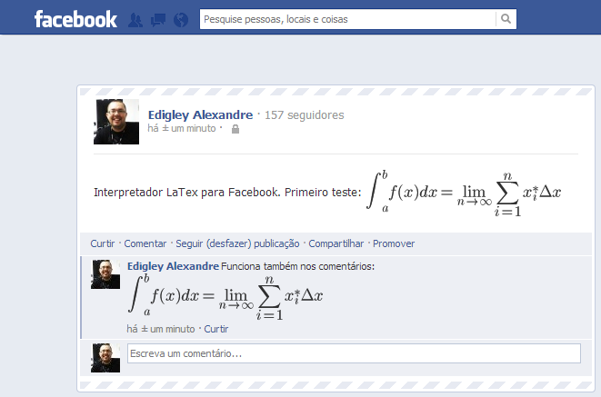 Interpretador LaTeX para o Facebook