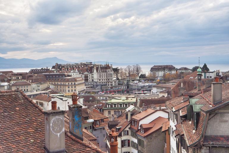 Vue sur la ville de Lausanne en Suisse