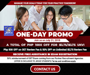 JROOZ IELTS/UKVI/OET One Day Promo  Join us on July 21, 2018   Free IELTS / IELTS UKVI / OET Orientation  IELTS: – 500 Off on Review Fee and Exam Fee A total of 1000 Off for IELTS/IELTS UKVI  OET: – 500 Off on Review Fee for OET plus – Receive free assistance in exam registration and – 50% Reimbursement Fee for OET exam coming from our Partner Recruitment Agencies (OFFER IS EXCLUSIVE TO JROOZ STUDENTS)