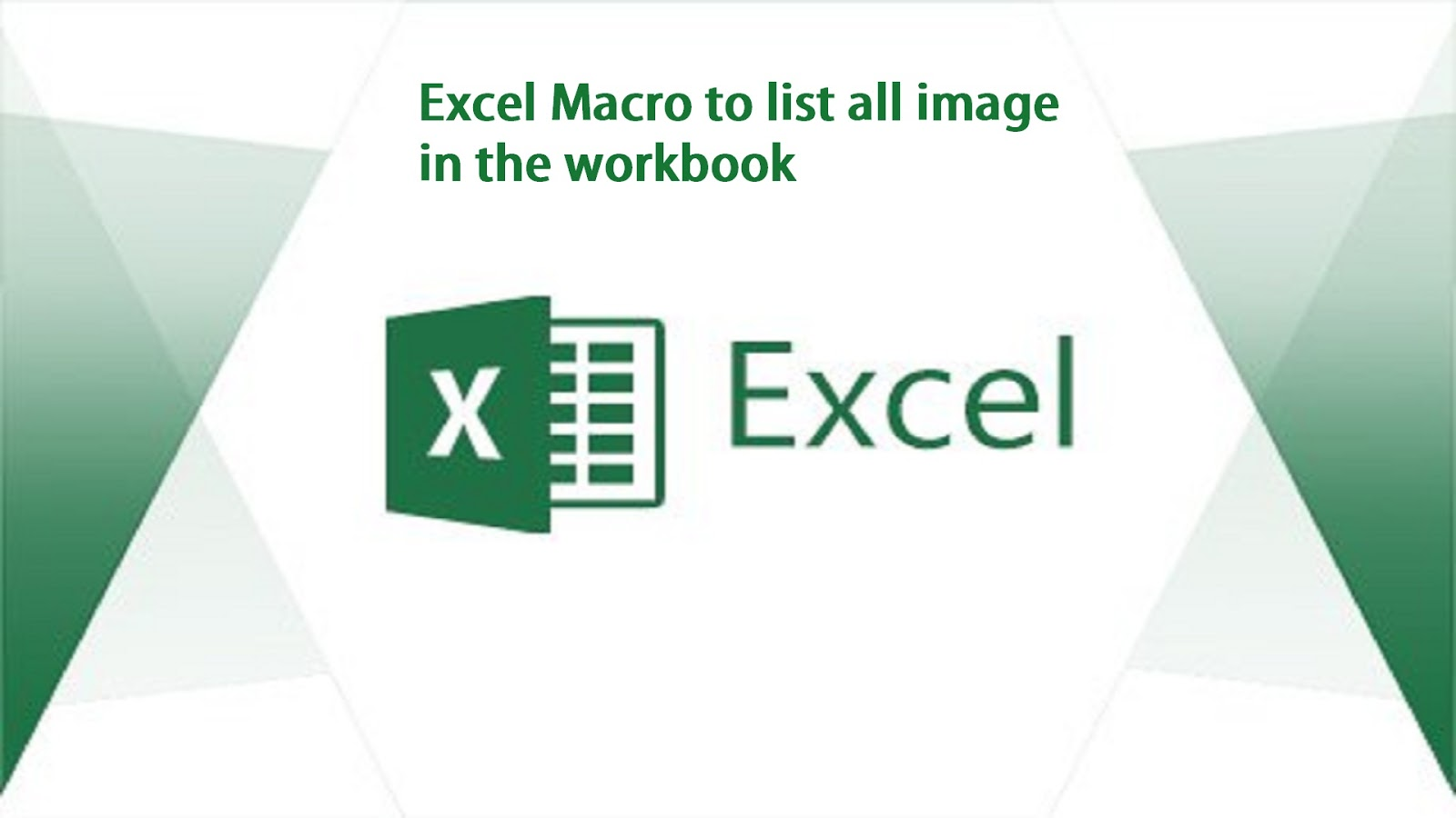 Excel Macro To List All Image From The Workbook
