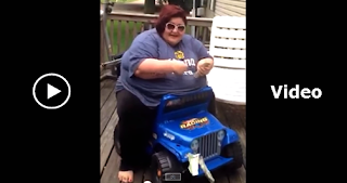 fat woman flips kid jeep while singing, funny videos