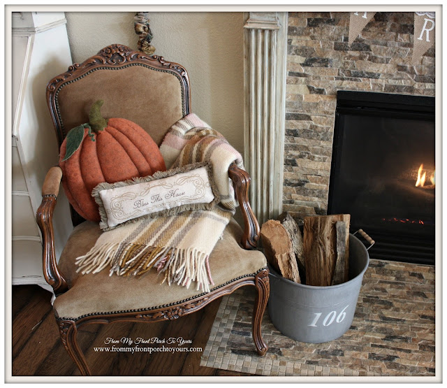 Farmhouse Style Fall Mantel-Pumpkin Pillow- From My Front Porch To Yours