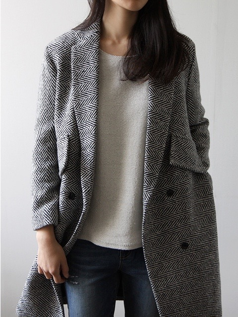 grey herringbone coat women