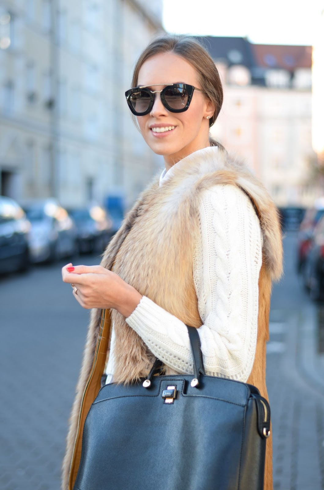kristjaana mere fox fur vest prada sunglasses furla bag winter look
