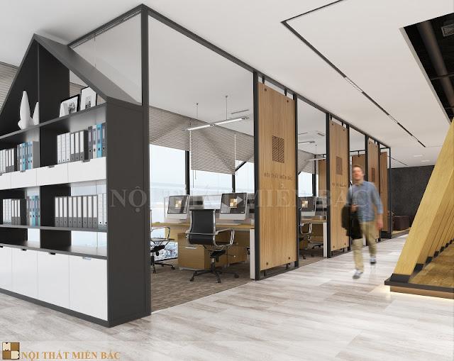 Xu hướng thiết kế phòng làm việc thoải mái, cởi mở luôn được ưa chuộng và ứng dụng rộng rãi giúp tiết kiệm được nhiều diện tích mà không gây cảm giác chật chội.